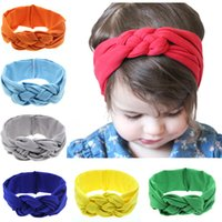 Wholesale Chinese Stick For Hair - 2016 NEW Solid Headbands For Girls Knoted 11 styles Colorful Hair Band Kids Hair Accessories Handmade Chinese knot Elastic Headbands 003