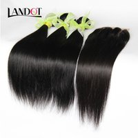 Wholesale Straight Indian Hair For Sale - 8A Brazilian Straight Hair Bundles with Free Lace Closure Unprocessed Malaysian Peruvian Indian Cambodian Human Hair Weaves Closure For Sale