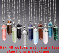Wholesale Pointed Stones - Necklace Jewelry Cheap Healing Crystals Amethyst Rose Quartz Bead Chakra Healing Point Women Men Natural Stone Pendants Leather Necklaces