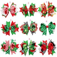 Wholesale New Hair Clips - New Girls Christmas hairpins dovetail Barrettes bow with clip children snowflake Dot stripe hair accessories Bow Hair clips 13colors C1518
