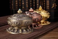 Wholesale buddhist supplies - Metal Incense Burner Creative Retro Alloy Thurible For Buddhist Supplies Incensory Home Decor Gifts Multi Colors 24zg C
