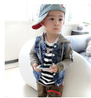 Wholesale Boys Hooded Denim Jacket - The new spring and autumn outfit 2016 Jean jacket The boy washed splicing cotton hooded cowboy coat