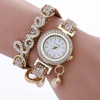Wholesale Brown Diamond Pendant - Newest LOVE bracelet watches Student ladies alloy diamond watch Pendant gold chain wristwatches Fashion dress quartz watches