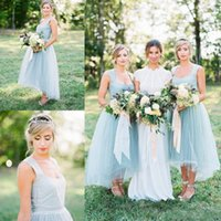 Wholesale Cheap Ice Blue Prom Dresses - Ice Blue Country Bridesmaid Dresses 2017 New Arrival Square Neck Tulle Hi Lo Prom Party Maid Of Honor Gowns Cheap