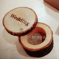 Wholesale Mr Rings - Custom Rustic Woodern Wedding Ring Box His&Hers Mrs&Mr Personalized Wedding Wood Ring Bearer Box Rustic Wedding Supplies