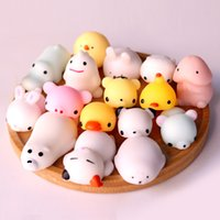 Wholesale 3D Soft Squishy Toys Cat Panda Chick Rabbit Unicorn Bear Stretchy Squeeze Relieve Stress Paste on Phone Case with Retail Package