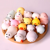 Wholesale Branded Soft Toys - 3D Soft Squishy Toys Cat Panda Chick Rabbit Unicorn Bear Stretchy Squeeze Relieve Stress Paste on Phone Case with Retail Package