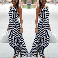 ingrosso abito geometrico bianco nero-Summer Women Beach Maxi Dress 2018 New Black and White Geometric Stripe Stampa Halter Halter Long Dress Female Vestidos 7 colori