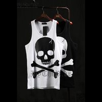Wholesale Casual Loose Mens Vest - Wholesale-2016 New Casual Mens Skull Printed Hip Hip-Hop Tank Tops Bodybuliding Loose Vest Punk Sports Top Tees Wite Black T-shirt WS925