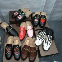 Wholesale Real Nest - Real Leather Ladies Slippers Fur Women Flower Nest Shape Cozy Slippers Flats Shoes Black Branded Cover Toe Loafer Shoes Big Casual Shoes