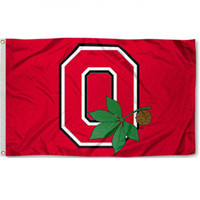 Wholesale National Cars - Ohio team State Buckeye logo Red 3x5 Flag National Cubs Polyester Flag USA Football Hockey Baseball College Car Flags