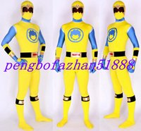 ingrosso costume giallo supereroe-Nuovo giallo / blu Lycra Spandex Superhero Suit Catsuit Costumi Unisex Supereroi Costumi Outfit Halloween Party Fancy Dress Cosplay Suit P040