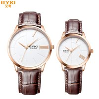 Wholesale Eyki Quartz Watch Lovers - 2016 New Eyki Men Women Simple Rose Gold Watch Stainless Steel Wrist Watches Luxury Brand Couple Watch Waterproof montre femme