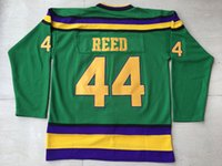 Jersey di hockey di ricreazione Mighty Ducks Jersey # 44 Fulton Reed colore verde tutto cucito Retro hockey jersey