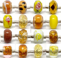 Wholesale Gold Loose Beads For Jewelry - 100pcs Yellow&Gold Murano Glass Silver Core Beads for Jewelry Making Loose Lampwork Charm DIY Beads for Bracelet Wholesale in Bulk Low Price