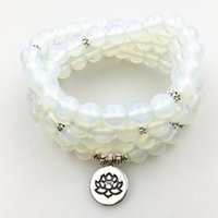 braceletes de contas de opala venda por atacado-SN1204 Pulseira Envoltório das Mulheres do Projeto de Moda 108 Mala Ioga Colar de Contas de Opala Natural Equilíbrio Pulseira Melhor Presente Das Meninas