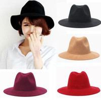 Wholesale Ladies Wool Church Hat - Cheapest Fashion Vintage Women Ladies Floppy Wide Brim Stingy Brim Hats Wool Felt Fedora Cloche Hats Cap Free Shipping