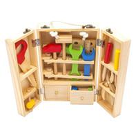 Wholesale Nut Combination - Wholesale- Baby Toys Kids Wooden Multifunctional Tool Set Maintenance Box Wooden Toy Baby Nut Combination Chirstmas Birthday Gift