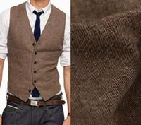 Wholesale Chinese Custom Suits - 2017 Vintage Brown tweed Groom Vests Wool Herringbone British style custom made Men's suit tailor slim fit Blazer wedding suits for men