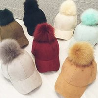 Wholesale Leather Fur Hats Women - Fashion Faux Fur Pom Pom Suede Baseball Cap Female Fur Ball Gorros Snapback Caps Adjustable Solid Hip Hop Hats For Women