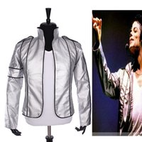 Wholesale Classic Leather Jackets For Men - Fall-Rare PUNK Rock Motorcycle Casual Classic MJ MICHAEL JACKSON Silver Leather Costume Heal The World Jacket For Fans Best Gift