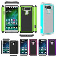 Wholesale Hybrid Impact Combo Ballistic Plastic - Ballistic Armor Rugged Football Dot Hybrid Case Shockproof Hard PC+Soft TPU Gel Combo Dual Color Back Dual Impact Skin For LG V20 X Power
