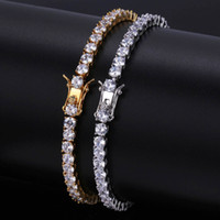 Wholesale 4mm Gold Chain - Iced Out Round Cut Tennis Bracelet 6mm 4mm Zirconia Triple Lock Hiphop Jewelry 1 Row Cubic Luxury CZ Men Bracelets