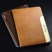 Wholesale Cheap Ipad Stand Cases - Newest Cheap Genuine Leather Deluxe business style Case For iPad 2 3 4 iPad Air 2 Mini 4 Leather with stand DHL Fast Shipping