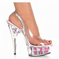 Sweet Elegant 15cm Ultra High Heels Rose Chaussures de soirée Rose The Transparent Upper And Flowers Sandales en cristal de 6 pouces