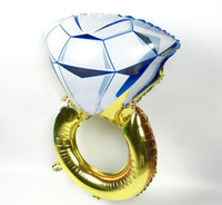 Wholesale toy diamonds online - Hot inch Lover Wedding Marriage Balloon Diamond Bride Ring Engagement Foil Valentine Balloons Party Toys