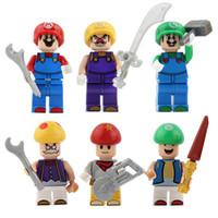 Wholesale princess blocks - Mario Building Blocks Bricks Puzzle Avengers Toys Super Heros Louis Princess Brigitte Minifig opp bag packages Super Brothers NO Bases story