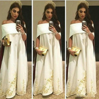 Wholesale Embroidery Dresses For Evening - Saudi Arabic Kaftans With Embroidery Sexy Off The Shoulder White Evening Gowns Floor Length Prom Party Dresses For Women 2017