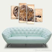 gemälde waldölfarben großhandel-4 Bild Kombination Impression Tier Ölgemälde Schöne Tier Leinwanddruck Kunst Wohnkultur von Forest King Tiger Gemälde