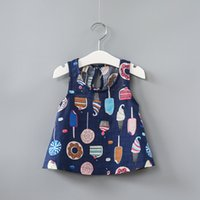 Wholesale Wholesale Korean Ice Cream - Summer girls Korean color ice cream skirt full printing children cotton blouse shirt cute baby tank tops