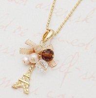 eiffel schmuck großhandel-Anhänger Halsketten Eiffelturm Anhänger mit Halskette vergoldet Kette Modeschmuck Kette Halskette