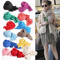 Wholesale Crinkle Cotton Scarves Wholesale - Pleated Woman Scarf Wrap Long Crinkle Shawl Soft Cotton 50*180cm Soild Candy Color Voile Scarves 28 colors OOA779