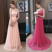 Wholesale Embroidered One Shoulder Evening Dress - In Stock Floor Length One Shoulder Long Evening Dress Women Pink Formal Dress Ball Gowns Free Ship