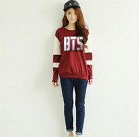 Wholesale Supporting Letter - Kpop bts Bangtan Boys Long sleeve hoodies women bts 2016 printed epilogue fans support or neck sweatshirt plus size tracksuits