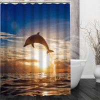 Wholesale YY612f New Custom Animals Under water Dolphins playing in the sea Modern Shower Curtain bathroom Waterproof lJ w