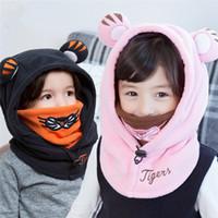 Wholesale Gaiters Children - 2016 New Kids cute Neck Gaiter Fleece Hat Cartoon Tiger 3D ears protection Beanie for children Winter Multi-functional warm cap with mask