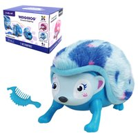 Wholesale Electronics For Kids - Interactive Pet Hedgehog with Multi-modes Lights Sounds Sensors Light-up Eyes Wiggy Nose Walk Roll Headstand Curl up Giggle Toys for Kids