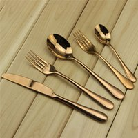 Wholesale Stainless Steel Cutlery Set Wholesale - High-grade Flatware Set Rose Gold Stainless Steel Plated Dinnerware Mirror Polishing Cutlery 5-Piece Romantic Tableware Free Shipping