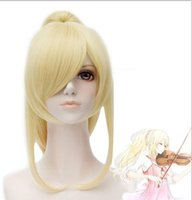 Wholesale Blonde Long Cosplay Wig Ponytail - Natural Long Straight April Gold Blonde Ponytail Synthetic Cosplay Wig For Halloween
