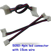 led-streifenbreite großhandel-50 stücke 10mm breite 4 pin lötfreie led streifen stecker verlängerungskabel draht beleuchtung zubehör für smd 5050 led streifen rgb