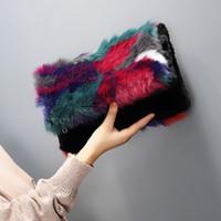 Wholesale Fold Over Purse - new 2017 winter faux fur women handbag patchwork day clutches bag bolsa fashion fold over purse color fur strap women shoulder bag