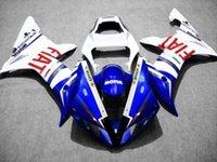 kit de carenado yzf r1 fiat al por mayor-Kit de carenado de motocicleta CUSTOM para YZFR1 02 03 YZF R1 2002 2003 yzfr1 YZF1000 FIAT blanco azul carenados conjunto