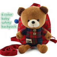 Wholesale Carry Bag For Baby - 6 Colors cute Kids baby backpack for school Safety belt Backpack cartoon bear an-lost baby Safety harness bag kid357