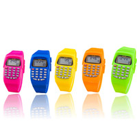 Wholesale Children Calculator - Wholesale- High Quali Fashion Digital Calculator With LED Watch Function Casual Silicone Sports For Kids Children Multifunction Calculating