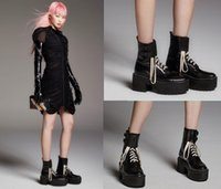 Wholesale Shoes Style Lace Boots - Top Quality 2016 Newest Hot Celebrity Style Martin Boots Black Women's Lace Up Leather Chunky Heel Catwalk Models Platform Short Boots Shoes