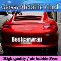 Wholesale Blood Red Color - Premium Glossy Red Metallic Vinyl Blood Cherry red Gloss Car Wrapping Film With Air channel sticker covers Size :1.52*20M Roll (5ftx66ft